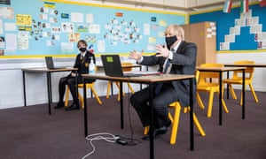 Boris Johnson during a visit to Sedgehill academy in south-east London