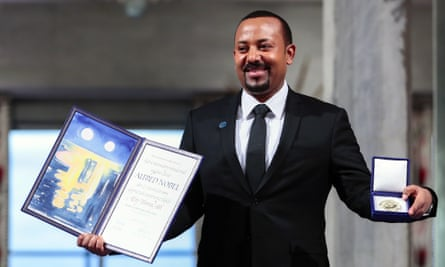 Ethiopia's prime minister Abiy Ahmed receives the Nobel Peace Prize in Oslo in 2019.