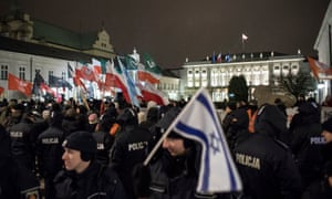 Far-right protesters outside the presidential palace in Warsaw earlier this month
