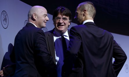 Aleksander Ceferin (right) with Gianni Infantino, president of Fifa, and Theodore Theodoridis, general secretary of Uefa.