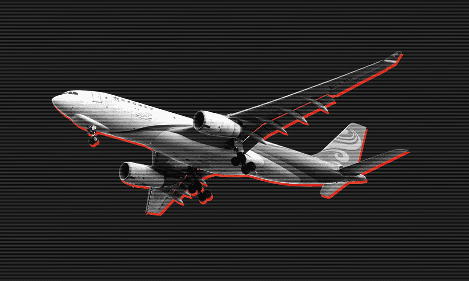 A design image of an aeroplane in flight, as many Hong Kongers flee their country.