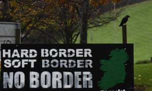 A sign calling for no Irish border is seen in Londonderry, Northern Ireland.