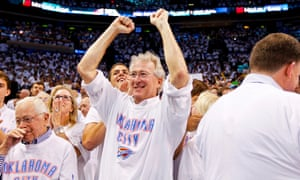Aubrey McClendon celebrates following his team's victory against the San Antonio Spurs during the 2012 NBA Playoffs