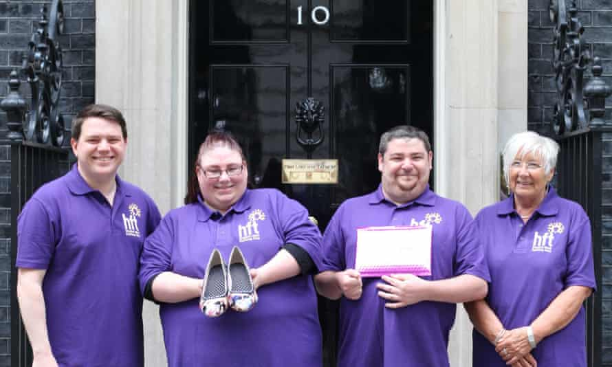 Becky and Henry, with Billy David and project manager Cynthia Webb, travelled to Downing Street to present the prime minister with a custom-built pair of shoes.