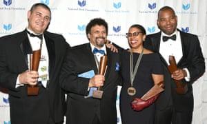 NBA winners Adam Johnson, Neal Shusterman, Robin Coste Lewis and Ta-Nehisi Coates.