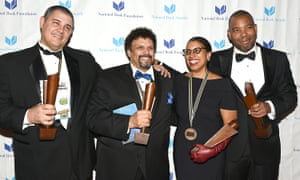 Adam Johnson, Neal Shusterman, Robin Coste Lewis and Ta-Nehisi Coates, last year's winners of the National Book awards.