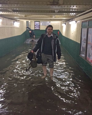 Flooding at Carnforth railway station in Lancashire, as heavy rain caused widespread flooding and travel disruption.