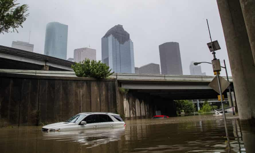 Cars stranded in high flood waters in Houston, US, in September.