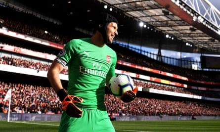 Petr Cech made a string of excellent saves during Arsenal's 2-0 victory against Everton at the Emirates Stadium on Sunday.
