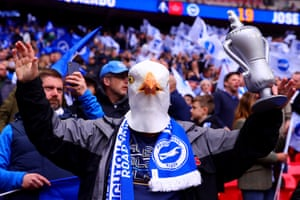 A Brighton fan before kick off against Manchester City in the first FA Cup Semi Final match of the weekend at Wembley Stadium.
