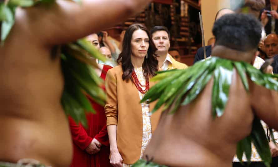 Jacinda Ardern is welcomed to the ceremony