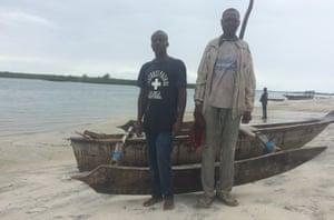 Fishermen Ibrahim Chamume and Ramadan Hamis on the beach at Mlingotini