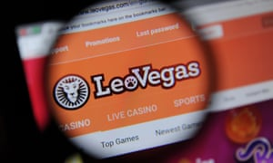The LeoVegas games website seen through a magnifying glass