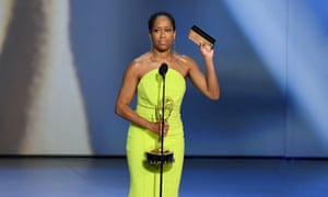 Regina King accepts the Outstanding Lead Actress in a Limited Series or Movie award for Seven Seconds during the 70th Emmy Awards.