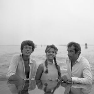 Fonda with his sister, Jane, and her husband, Roger Vadim, on a water taxi crossing the Canal Grande, Venice, 1967