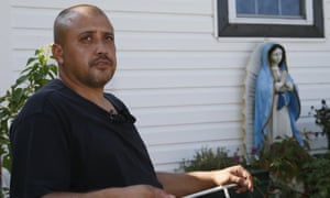Neighbor Julio Rayos answers questions for the media in Oklahoma City on Wednesday concerning the officer-involved shooting of Magdiel Sanchez on Tuesday night.