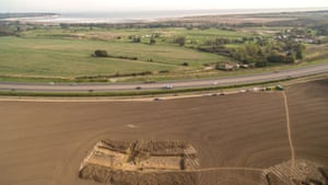 Excavations at Ebbsfleet, with Pegwell Bay in the background.