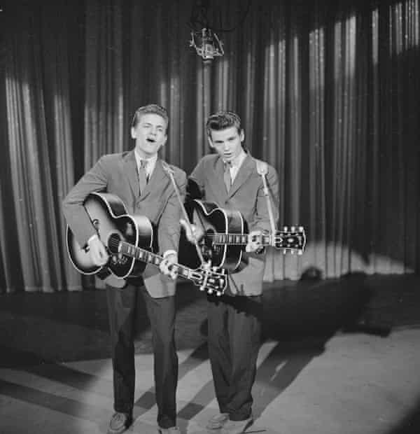 The Everly Brothers on the Ed Sullivan show in 1957.