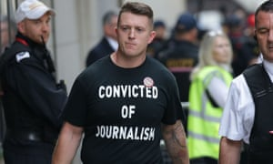 Tommy Robinson outside the Old Bailey