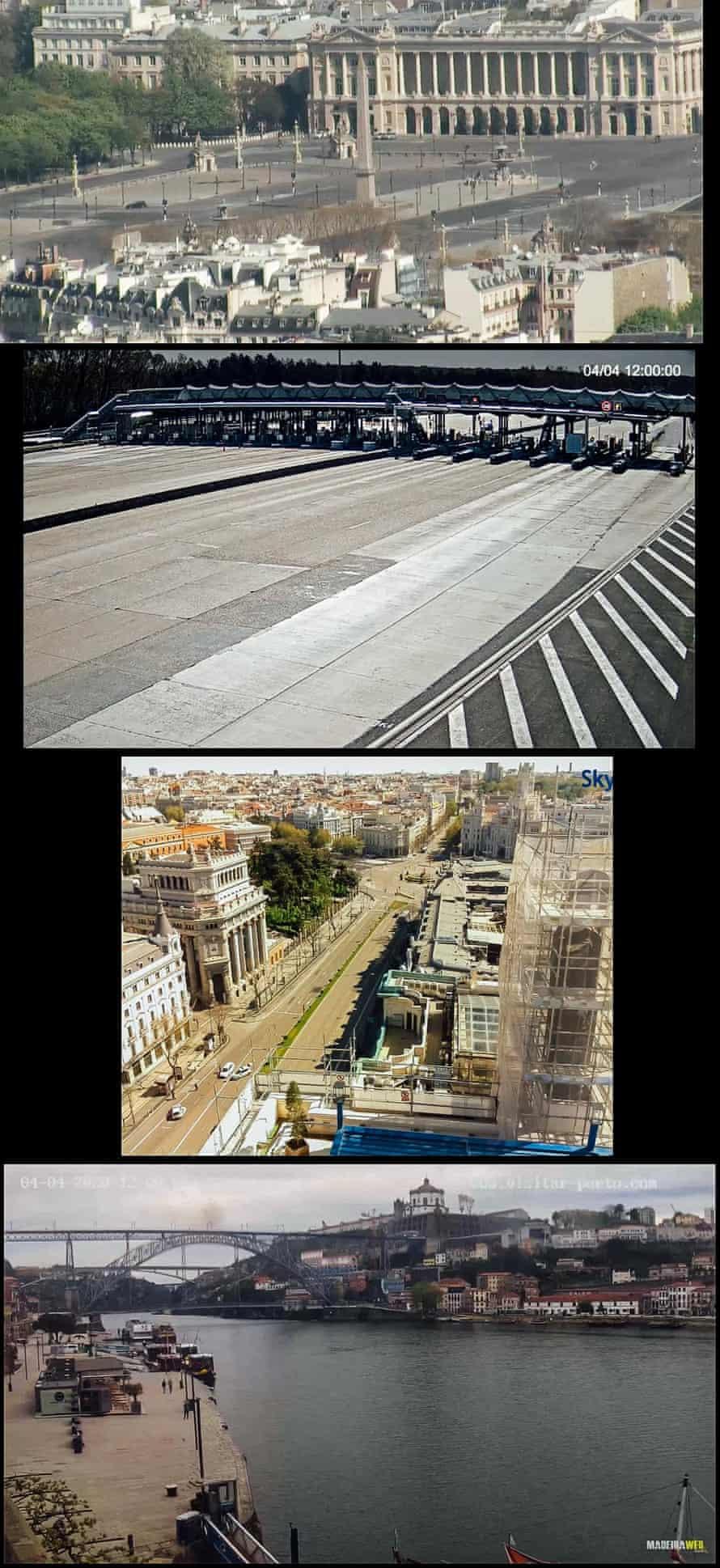 Place de la Concorde, Paris; A6 highway tollbooth, Melun, France (camera directed towards Lyon); Calle de Alcalá, Madrid, Spain; Porto, Portugal