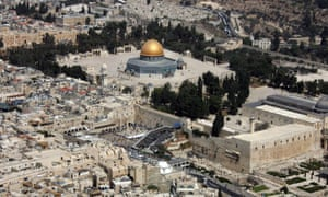 Aerial view of the Haram al-Sharif/Temple Mount complex in Jerusalem's Old City.