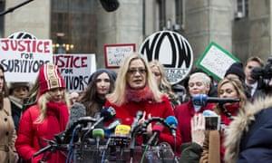Louise Godbold, center, speaks as Harvey Weinstein arrives at court in New York, New York, on 6 January.