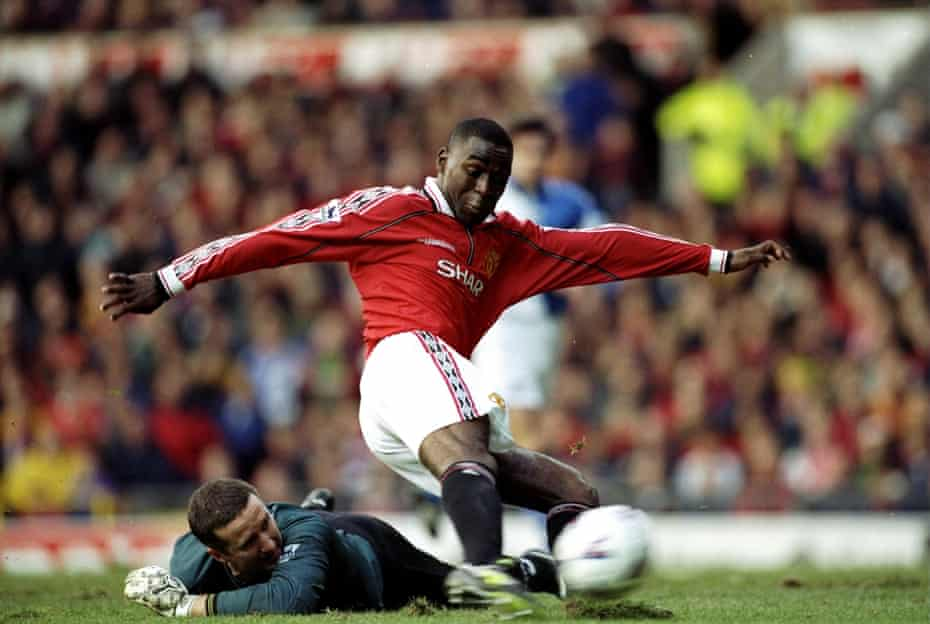 Andy Cole scores for Manchester United against Blackburn in November 1998.