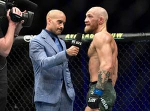 Conor McGregor of Ireland reacts after his TKO loss.