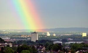 A rainbow over Pollok Park, Glasgow, close to where Darren McGarvey grew up.