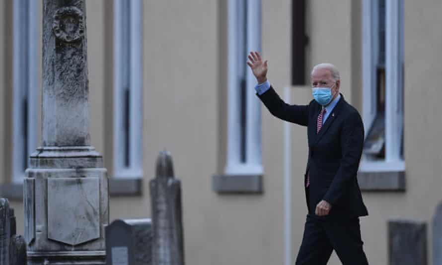 Joe Biden waves as he leaves St Joseph on the Brandywine Roman Catholic Church on 16 January 2021 in Wilmington, Delaware.