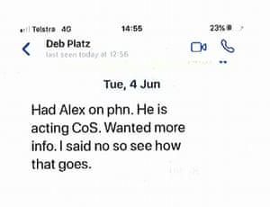 WhatsApp message between AFP officers Debbie Platz and Neil Gaughan