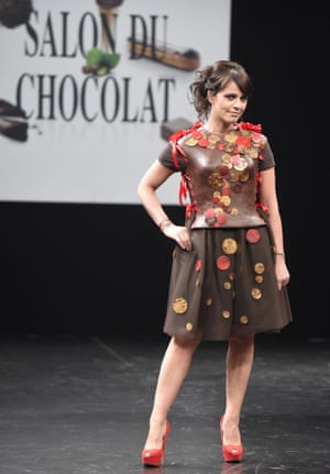 French singer Koxie in a chocolate dress