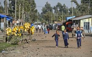 Girls on their way to school, Goba, Bale region, Oromia Region