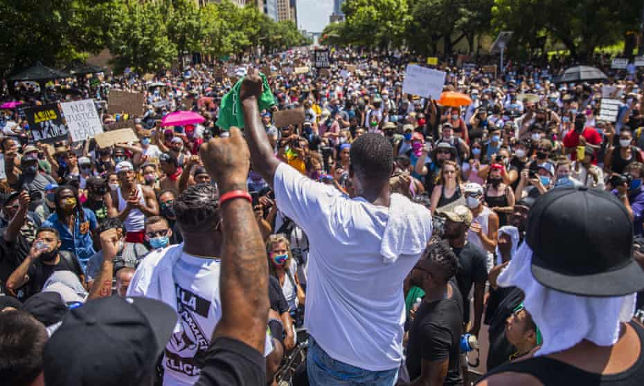 Protesters gather in front of the State Capitol on 7 June 2020, in Austin, Texas, during a protest over the death of George Floyd.