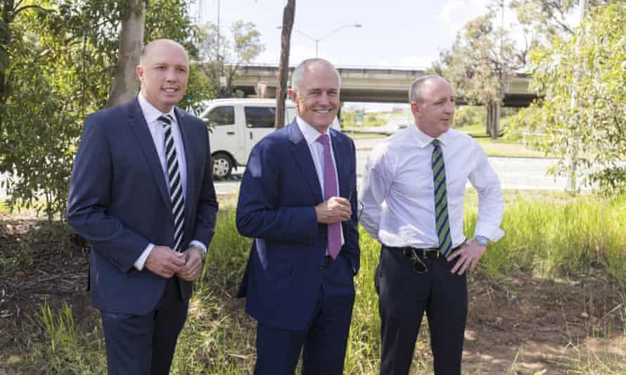 Member for Dickson Peter Dutton, Malcolm Turnbull and member for Petrie Luke Howarth at Murrumba Downs, Brisbane