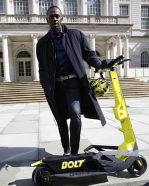 Olympic champion Usain Bolt unveils his own brand of electric scooter in New York.