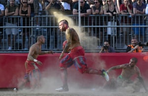 Florence, Italy. A game of Calcio Storico Fiorentino, a traditional football match played in costume