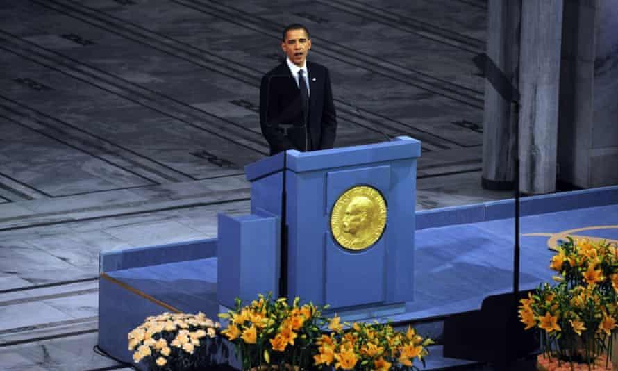Obama at the Nobel prize ceremony in Oslo in 2009.