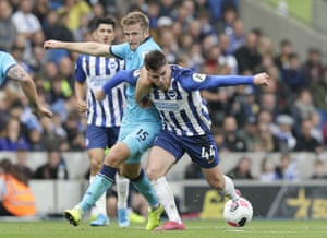 Brighton's Aaron Connolly (left) and Tottenham's Eric Dier (right) tangle as the fight for posession. A double from Connolly helped win the match 3-0 for the Seagulls. At 19 years 250 days old, Connolly is the first teenager ever to start a Premier League game for Brighton and the first to score in the league for them since Jake Forster-Caskey against Charlton in April 2014 in the Championship.