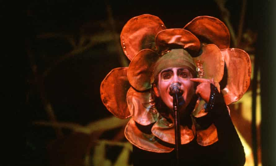 Peter Gabriel on stage with Genesis in 1974.