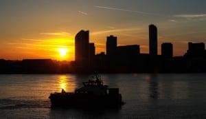 Sunrise behind the Liverpool skyline