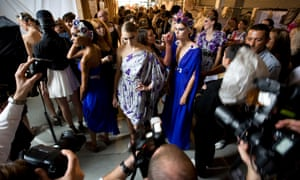 Backstage at a Temperley London show at London fashion week.