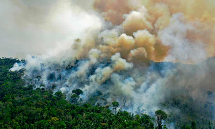Smoke rises from the Amazon rainforest in Brazil