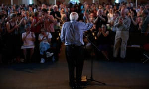 Sanders receives a standing ovation while speaking at a town meeting on 27 May at the South church in Portsmouth, New Hampshire.