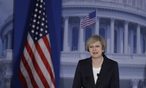 Theresa May speaks at the Republicans Congressional retreat in Philadelphia.