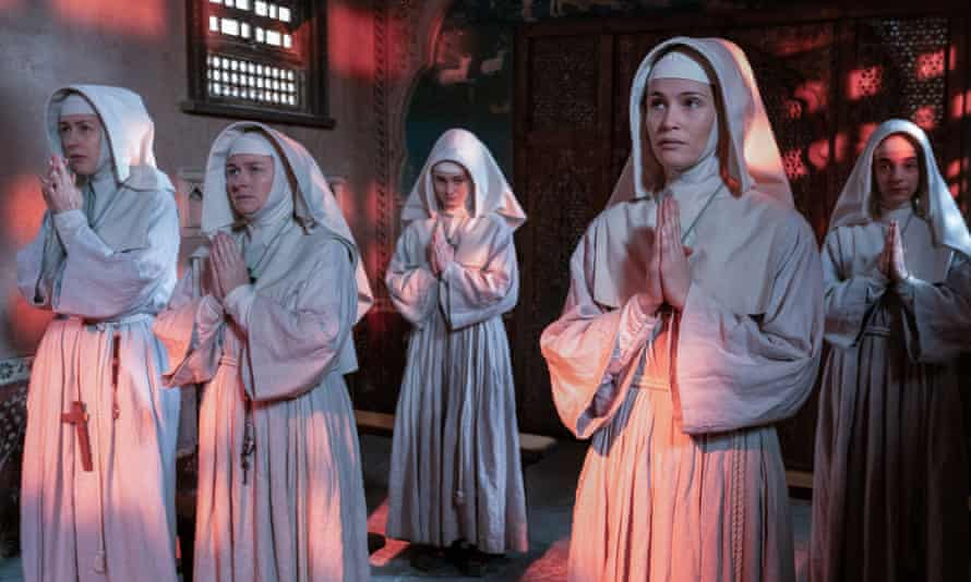 WARNING: Embargoed for publication until 00:00:01 on 05/12/2020 - Programme Name: Black Narcissus - TX: 29/12/2020 - Episode: Black Narcissus - Ep 3 (No. n/a) - Picture Shows: Sister Adela (GINA McKEE), Sister Briony (ROSIE CAVALIERO), Sister Ruth (AISLING FRANCIOSI), Sister Clodagh (GEMMA ARTERTON), Sister Blanche (PATSY FERRAN) - (C) FX Productions - Photographer: Miya Mizuno