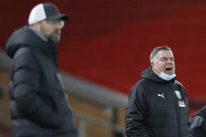 West Bromwich Albion's head coach Sam Allardyce barks orders.