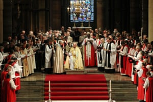 The Most Rev Justin Welby, 57, is formally sworn in as the 105th archbishop of Canterbury in front of 2,000 guests during a service at Canterbury Cathedral.