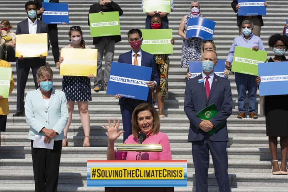 Speaker of the House, Nancy Pelosi, joined her colleagues to unveil the Climate Crisis action plan on 30 June.