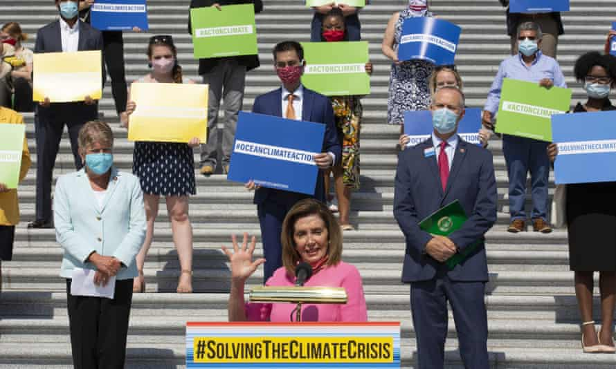 Nancy Pelosi, speaker of the House, unveils the Climate Crisis action plan on 30 June.
